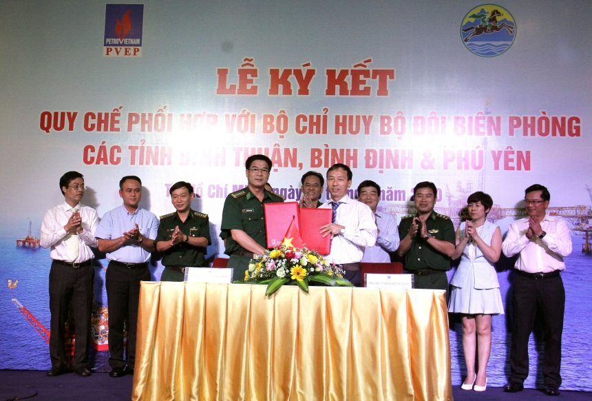 PVEP SIGNED THE COORDINATING REGULATION WITH THE BORDER GUARD COMMANDS OF BINH THUAN, BINH DINH, PHU YEN PROVINCES